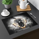 Alpha Warrior Wolf Gray Sky Printed Placemat Table Mat