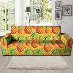 Neon Leather And Yellow Pineapple Hawaiian Print Sofa Cover