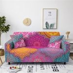 Boho Style Pink Blue Yellow Flower Pattern Colorful Design Sofa Cover