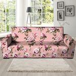 Pink Rose Floral Pattern Print Sofa Cover