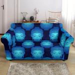 Blue Buddha Head Mandala Print Sofa Cover