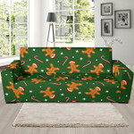 Green Chirstmas Gingerbread Man Background Sofa Cover