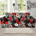 Red And White Hibiscus Flowers Hawaiian Realistic Sofa Cover