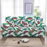 Red And Yellow Butterflies In Green Garden White Background Sofa Cover