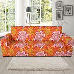 Orange Sea Turtle Hawaiian Pattern Theme Sofa Cover