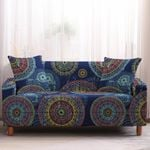Blue Theme Multiple Color Bohemian Mandala Circle Geometric Pattern Sofa Cover