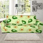 Green Cute Avocado Patttern Background Sofa Cover