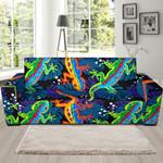 Bright Neon Lizard Theme Sofa Cover