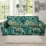 Green Geometric Abstract Pattern Print Sofa Cover