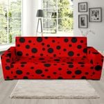 Ladybug Red And Black Dots Pattern Sofa Cover