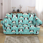 Pale Green Penguin Love Pattern Print Sofa Cover