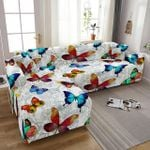 L Shape Beautiful Butterfly Flower Drawing White Theme Sofa Cover