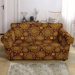 Gold Sunflower Hand Drawn Vintage Pattern Sofa Cover