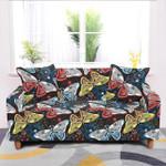Giant Elastic Butterfly Dark Blue Theme Sofa Cover