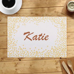 Gold Confetti Dots Custom Name Printed Placemat Table Mat