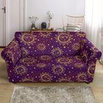 Sun Moon Star Purple Sky Night Sofa Cover