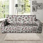 Grey And Pink Leopard Pattern Sofa Cover