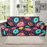 Blue Donut Pattern Background Sofa Cover