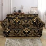 Celtic Knot Gold Brown Pattern Sofa Cover