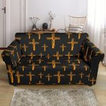 Orange Christian Tree Of Life Cross Design Black Theme Sofa Cover