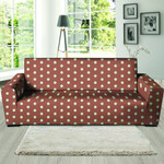 Brown Leather And White Polka Dot Sofa Cover