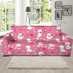 Funny Dog Poodle Pattern Background Sofa Cover