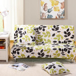 Black And Green Leave White Theme Sofa Cover