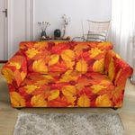Red And Yellow Elm Leave Autumn Season Sofa Cover