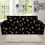 Black Leather And Gold Footprint Paw Sofa Cover