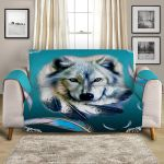 Turquoise Wolf Feather Sofa Couch Protector Cover