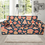 Red Gingerbread Man Chirstmas Pattern Background Sofa Cover