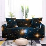Multicolor Galaxy Out Space Black Background Sofa Cover