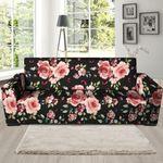 Black Pink Rose Flower Pattern Print Sofa Cover
