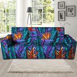 Neon Skin And Palm Leaf Tropical Print Sofa Cover
