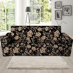 Gold Rose Floral And Black Skin Sofa Cover