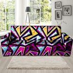 Purple Diamond Geometric Graffiti Print Sofa Cover
