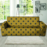 Gold Leather And Grey Polka Dot Sofa Cover