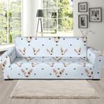 Bull Terrier Heart Pattern Background Sofa Cover