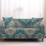 Colorful Teal Blue Bohemian Pattern Sofa Cover
