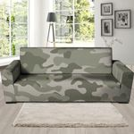Grey And Green Pale Camouflage Pattern Print Sofa Cover