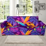 Heliconia Hawaiian Tropical Palm Leaves Background Sofa Cover