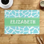 Pastel Blue Leopard Custom Name Printed Placemat Table Mat