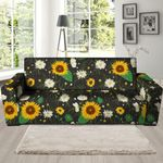 Sunflower And Chamomile Artistic Theme Sofa Cover