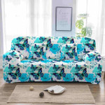 Blue Butterfly And Flower White Theme Sofa Cover