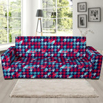 Colorful Houndstooth Theme Sofa Cover