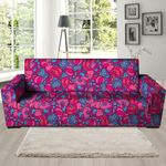 Psychedelic Trippy Hippie Heart Realistic Sofa Cover