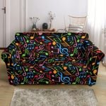 Music Note Colorful Black Themed Pattern Sofa Cover