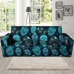 Blue Sugar Skull Pattern Print Sofa Cover