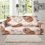 Cute Dog Pomeranian Pattern Background Sofa Cover