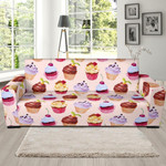 Cupcake Pink Pattern Background Sofa Cover